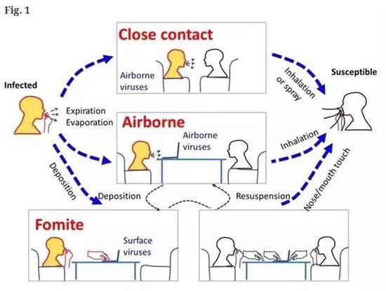 左侧感染者可以通过多种气溶胶形式传播,包括近距离接触被易感者吸入(上);空气传播气溶胶被易感者吸入(中);沉降后被易感者手接触并触碰自身黏膜传播(下)。