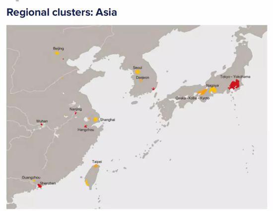 亚洲部分创新集群