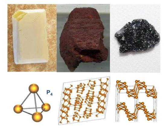 白磷(左)、红磷(中)和黑磷(右)的形态及分子结构 图源:Wikipedia