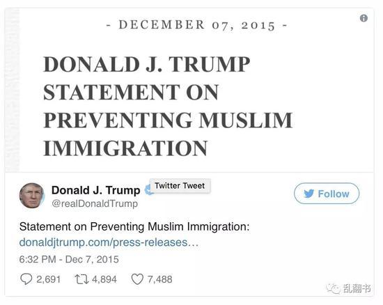 特朗普的反穆斯林动态