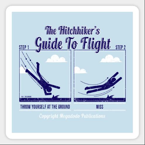 飛行僅有兩個步驟:1將自己丟向地面2躲開(圖片來源: teepublic)