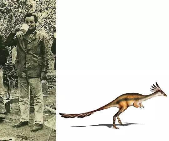 何塞波拿巴与他发现的卡氏阿尔瓦雷斯龙(图片来源:维基百科)