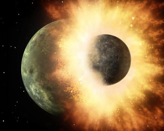 """地球与""""忒伊亚""""碰撞想象图 图/Wikipedia"""