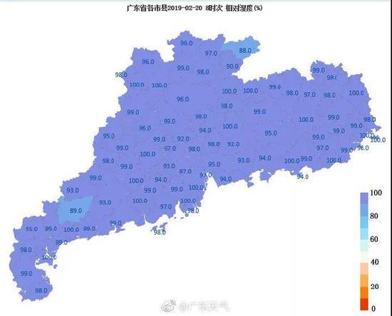 ▲ 2 月 20 号的广东相关湿度图 湿哒哒一片