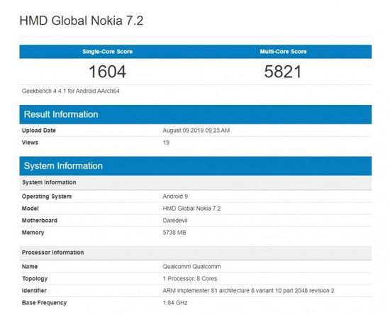 <b>全新诺基亚7.2现身跑分网站:6GB运存+安卓9系统</b>