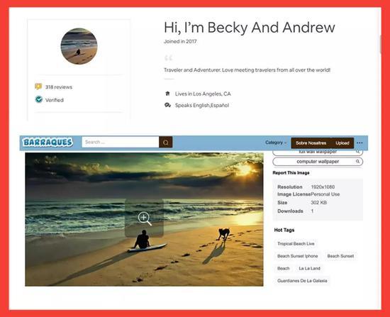 图注:在反向图片搜索后,Becky and Andrew的账号图片在互联网上的其他地方出现了。