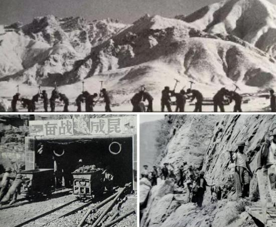 """图2:成昆铁路和青藏铁路,是全世界公认的工程难题,均始建于1958年。以成昆线为例,牺牲官兵2100多人,平均每公里1.6公里牺牲1人,诠释了""""一寸铁路一寸血""""可歌可泣的故事!"""