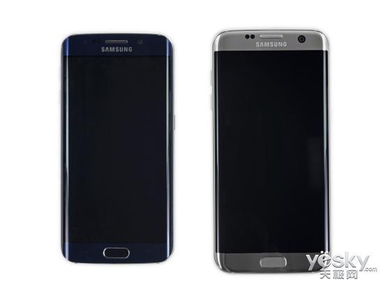 三星Galaxy S6 edge(左)与三星Galaxy 三星galaxy s7 edge(港版g9350双曲面)(右)