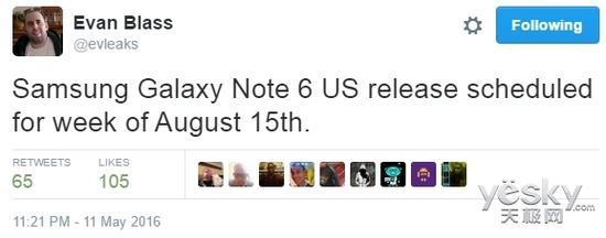 三星Galaxy Note 6八月中旬登陆美国市场