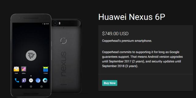 预装Copperhead OS的Nexus 5X/6P发售