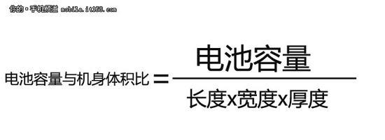 ▲电池和机身体积比值计算公式