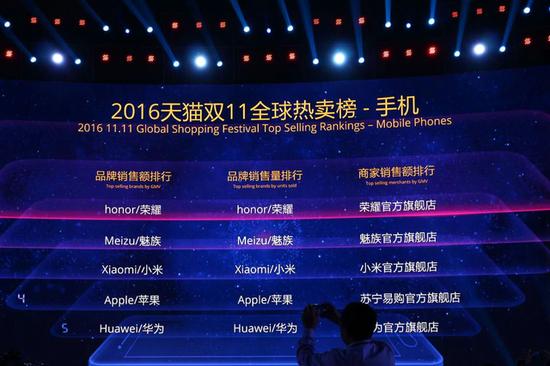 2016天猫双十一全球热卖榜—手机(引自天猫)