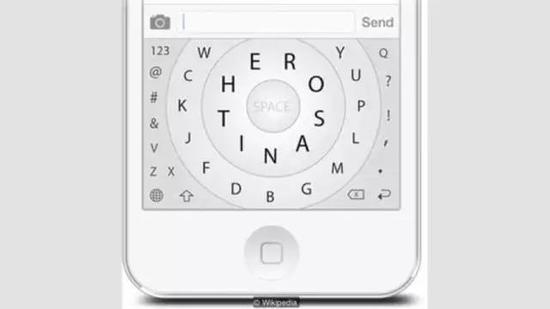基于拇指打字的Hero键盘模式,让最常用的字母位于中间一圈。图片来源:Wikipedia