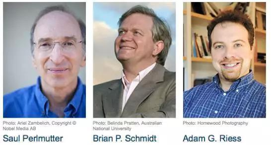 图1. 2011年诺贝尔物理学奖得主(图片来源:诺贝尔奖官方网站:www.nobelprize.org)