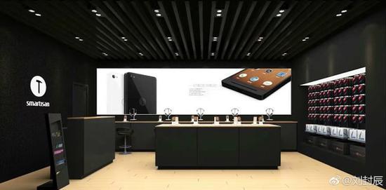 图为锤子科技线下实体店内景(图片来源于微博)