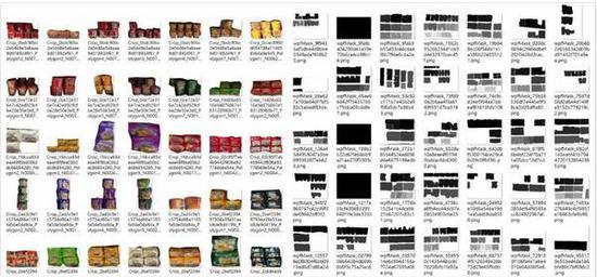 图中左侧为从真实货架照片中挖取出的同类商品碎片;右侧为对货架上不同商品的标注,每种灰度对应一种商品