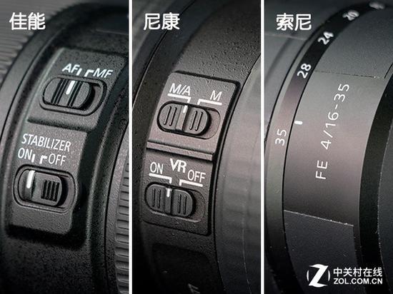 索尼16-35mmF4的镜身非常简洁,虽然好看但操控起来比较麻烦