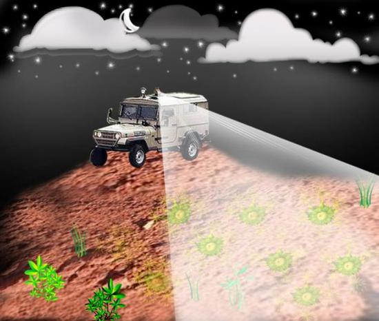 基因改造过的细菌,结合激光扫描设备,可以远程指示地雷的存在。图片来自Shimshon Belkin等。