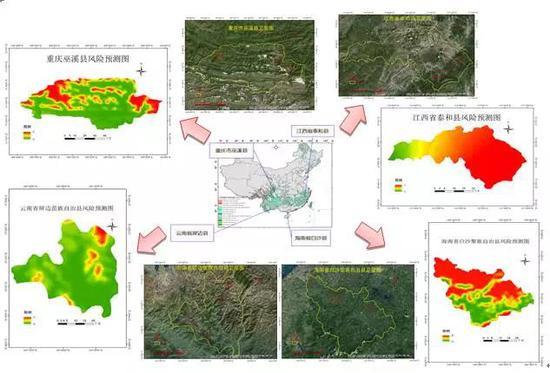 """图8 """"树流感""""爆发风险验证示范区(重庆市巫溪县、云南省屏边县、江西省泰和县、海南省白沙县)"""