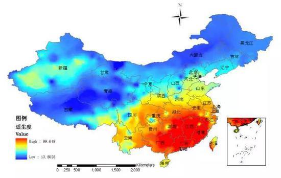 """图5 基于AHP-模糊综合评价方法的中国""""树流感""""适生度分布图"""