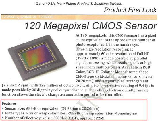 佳能销售1.2亿万像素的APS-H画幅传感器