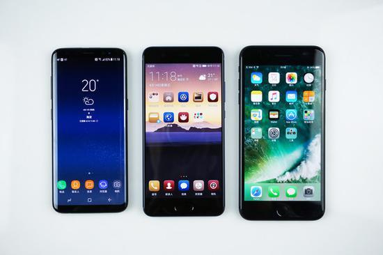 三款旗舰手机正面