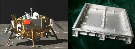 嫦娥三號探測器及化學鍍后的嫦娥三號用鎂質航天器部件