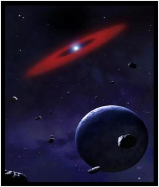 图3. 绕白矮星运行的行星系统的艺术概念图。白矮星为红色圆环中心的白点,在前景中我们可以看到岩态小行星。如果这种小行星的轨道被行星引力改变的足够多,那么该小行星可能非常接近白矮星,并被撕裂成近距离绕转的岩态碎片。红色圆环代表已经被白矮星强大引力撕碎的早期小行星的岩态碎片。
