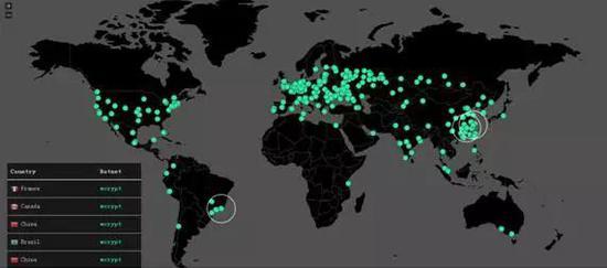 世界各地感染WannaCry的实时监控图,图片来自网络