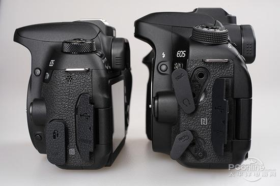 77D(左)和80D(右)接口对比(打开状态)