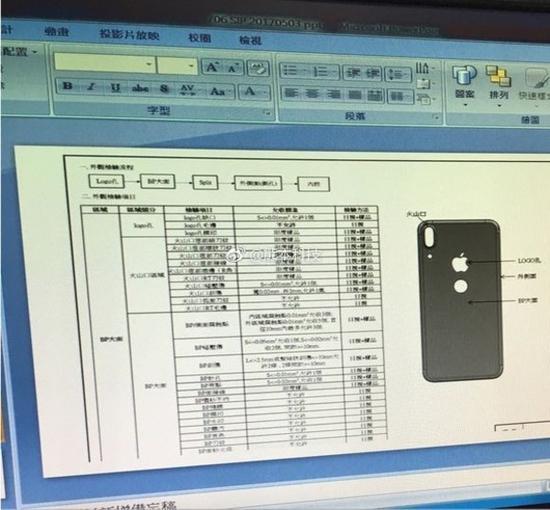 在iPhone 8背部工程图