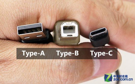 USB接口:从左到右依次为标准Type-A接口、Type-B接口及Type-C接口