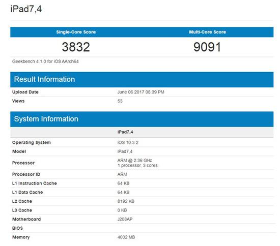 A10X处理器在GeekBench4测试结果