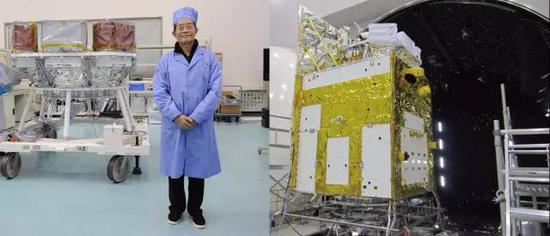左图:HXMT望远镜交付前,项目提出人及前首席科学家李惕碚院士跟望远镜合影。右图:热真空实验前的整星照片,望远镜位于卫星的上部