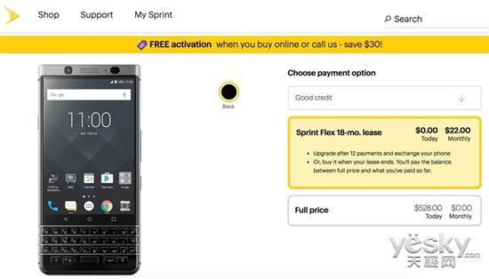 全键盘手机黑莓KEYone登陆Sprint开售3576元