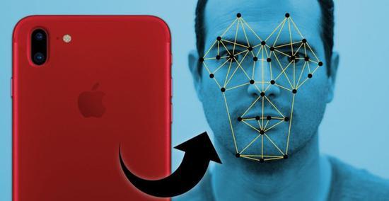 iPhone8使用3D面部识别技术示意图