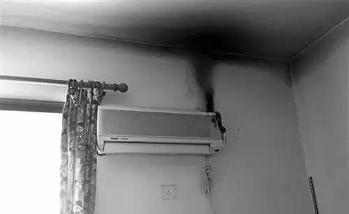 △2017年5月,福州一户家庭,空调在未开机下出现起火自燃。