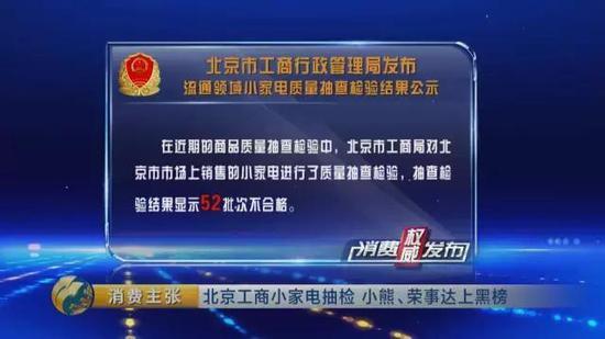 北京工商局小家电抽检:小熊、荣事达不合格上