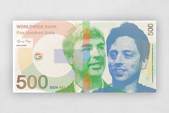 """谷歌创始人拉里佩奇和谢尔盖布林的""""500美元纸币"""""""
