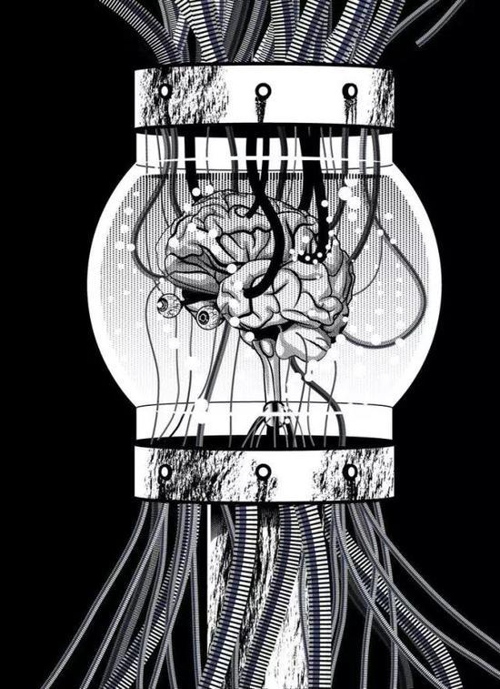 """""""缸中之脑"""":普特南认为,如果我们是缸中之脑,那么""""我们现在说'我们是缸中之脑'这句话的意思便是我们是想象中的缸中之脑或诸如此类的东西(如果我们毕竟表达了什么意思的话)"""",""""所以,如果我们是缸中之脑,那么'我们是缸中之脑'就是一句假话(如果它说了什么的话)。""""图源:doctor-morbius.deviantart"""