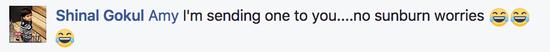 """网友@Shinal Gokul圈了她的朋友Amy,表示:""""我要送个脸基尼给你,你就再也不用担心被晒伤了!"""""""