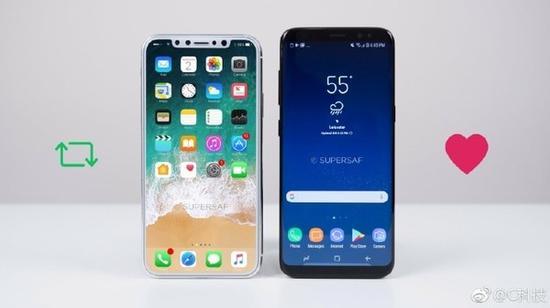 iPhone 8与S8亮屏对比