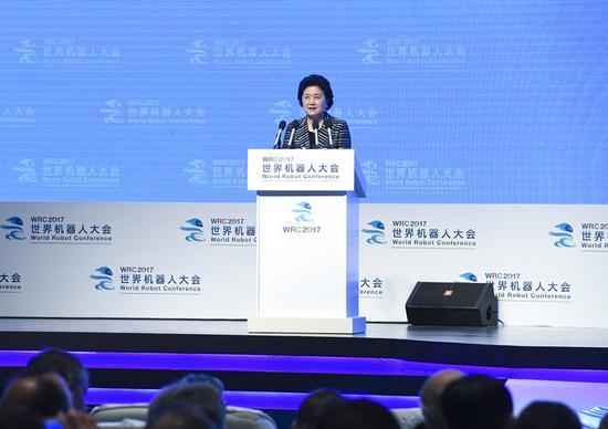 8月23日,2017世界机器人大会开幕式在北京举行,中共中央政治局委员、国务院副总理刘延东出席并讲话。新华社记者张领摄