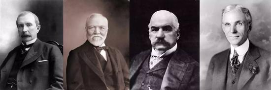 美国经济的缔造者,左起:约翰·洛克菲勒、安德鲁·卡内基、J.P。 摩根、亨利·福特。