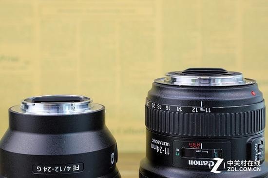 索尼12-24(左)的卡口处没有配备橡胶圈
