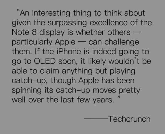 Techcrunch:Note8显示屏卓越是一大优势
