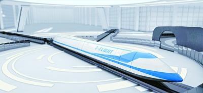高速飞行列车效果图。中国航天科工集团公司官方微博供图
