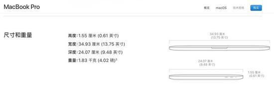 苹果15英寸MacBookPro带TouchBar版本外观尺寸