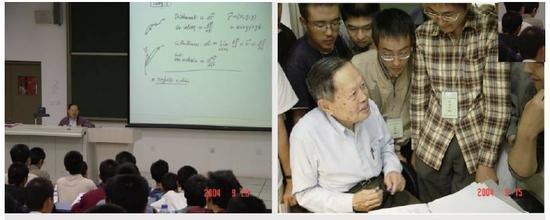 图5 杨振宁先生在清华大学给大一学生上课。左图是他在课堂边讲边写教学内容投影到屏幕上;右图是课间学生围着杨先生请教问题