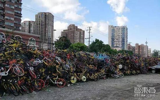 上海,绵延数十米的单车墙